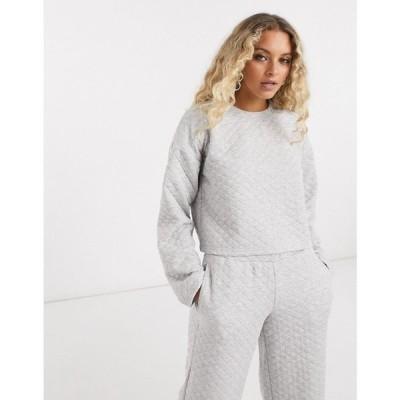 ノイズィーメイ Noisy May レディース スウェット・トレーナー トップス Quilted Sweater Co-Ord In Grey グレー