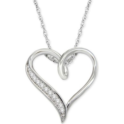 """メイシーズ Macy's レディース ネックレス ハート Diamond Heart 18"""" Pendant Necklace (1/10 ct. t.w.) in Sterling Silver Sterling Silver"""