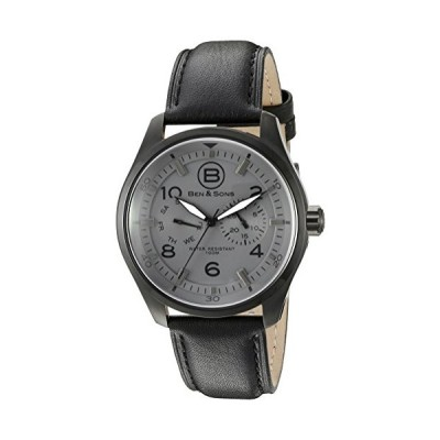 Ben & Sons Men's 'Marshall' Quartz Stainless Steel and Black Leather Casual Watch (Model: BS-10010-BB-014) 並行輸入品