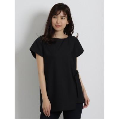 【タカキュー】 ストレッチリップル アシンメトリーレイヤード半袖Tシャツ レディース ブラック L TAKA-Q