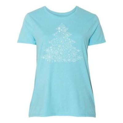レディース 衣類 トップス Christmas Tree made of Snowflakes Women's Plus Size T-Shirt Tシャツ