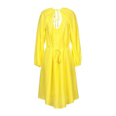 FISICO ミニワンピース&ドレス イエロー M シルク 52% / コットン 48% ミニワンピース&ドレス