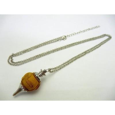 【浮彫】 白蛇 柘植 ペンデュラム ネックレス 1個売り パワーストーン ダウジング ヒーリング