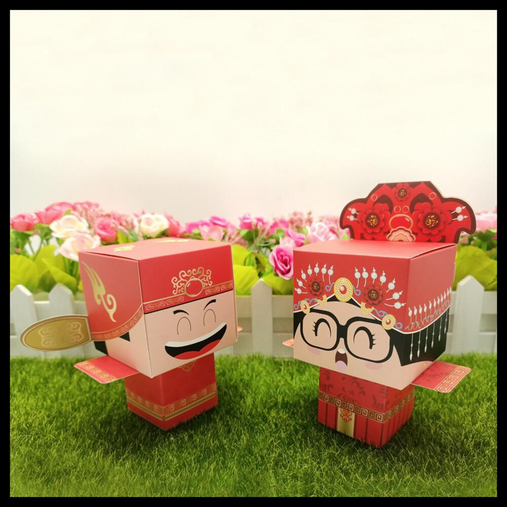 現貨中國風 喜糖盒 復古風 新郎新娘 中國娃娃 小禮 桌禮 送客禮 婚禮小物 紙盒氣球快易送