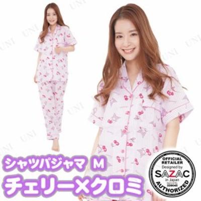 SAZAC(サザック) チェリー×クロミシャツパジャマ パープル レディスM レディース ファッション 女性用 大人用 ルームウェア 部屋着 寝巻