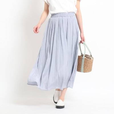 デッサン Dessin 【XS~L・ウエストゴム】サテンギャザースカート<揺れるたび、美しい光沢感> (ライトブルー)