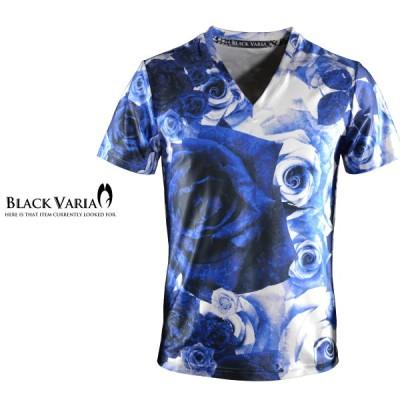 BlackVaria Tシャツ 花柄 バラ柄 Vネック 半袖 メンズ(ブルー青) bv04