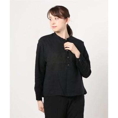シャツ ブラウス D.M.G/ディーエムジー フレンチリネンキャンバス スタンドカラーシャツ