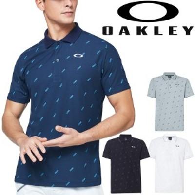 ポロシャツ 半袖 メンズ/オークリー OAKLEY Enhance SS Polo Graphic/スポーツウェア 総柄 吸汗速乾 UVカット 男性 半袖シャツ 移動着 普