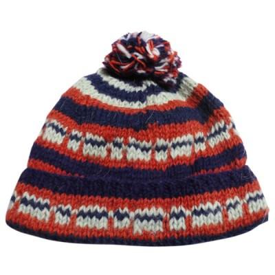 帽子 ネパール・手編みボンボン帽子2 クリックポスト選択 送料200円