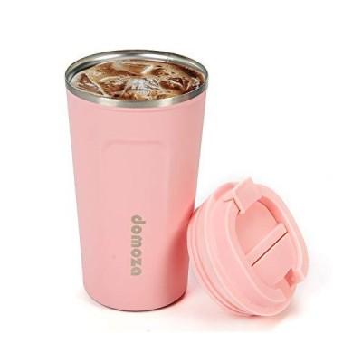 domoza タンブラー 蓋付き コーヒーカップ 魔法瓶 二重構造 真空断熱 ステンレスタンブラー 保温 保冷 持ち運び マグ ボトル カップ(ピンク
