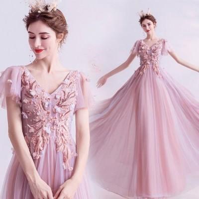 ANGEL 半袖付き 肌透け チュール フラワー ビーズ 背中編上げ Aライン ロングドレス ピンク