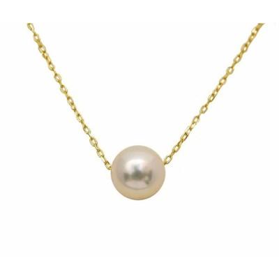 ネックレス 一粒のアコヤ真珠 6.5mm〜7mm K18 アズキチェーン スルー ネックレス パール アクセサリー レディース 通販