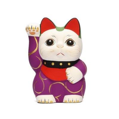 KARAKUSA MANEKI NEKO S PURPLE (唐草 招き猫 パープル S 紫唐草)