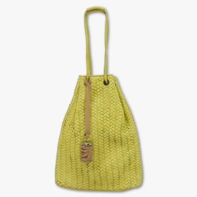 TIBERIO FERRETTI (ティベリオ・フェレッティ)「SECCHIELLO」レザー 巾着型 メッシュ バッグ【YELLOW】