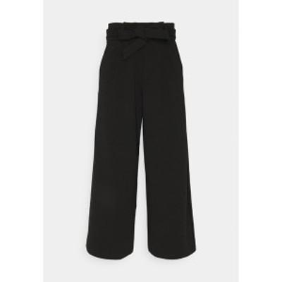 トムテイラーデニム レディース カジュアルパンツ ボトムス KNITTED PAPERBAG CULOTTE - Trousers - deep black deep black