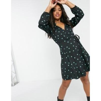 ニュールック レディース ワンピース トップス New Look wrap mini dress in spot pattern Black pattern