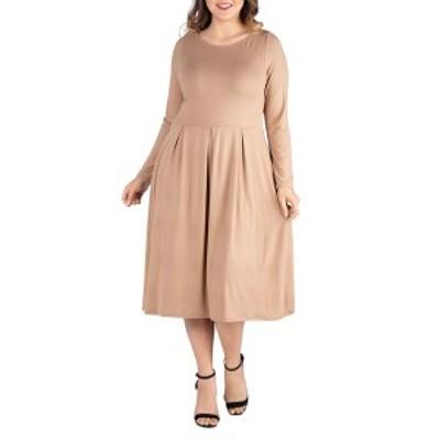 24セブンコンフォート レディース ワンピース トップス Women's Plus Size Fit and Flare Midi Dress Wheat