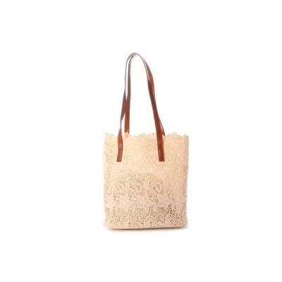 スタイルブロック STYLEBLOCK 巾着ポーチ付き花柄レーストートバッグ (カーキ)
