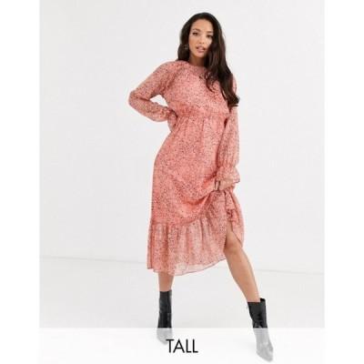 ワイエーエス レディース ワンピース トップス Y.A.S Tall Owa long sleeve ditsy floral midi shirt dress