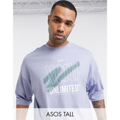 エイソス ASOS DESIGN メンズ Tシャツ トップス Tall organic cotton oversized t-shirt with graffiti spray print