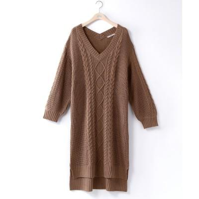 大きいサイズ ケーブル編みニットチュニックワンピース ,スマイルランド, ワンピース, plus size dress