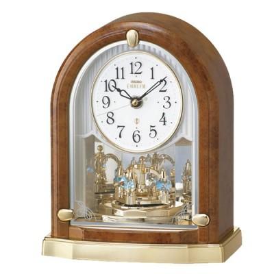 SEIKO EMBLEM(セイコー エムブレム)回転飾り付 電波置き時計  HW592B  茶 プレート文字刻印可能