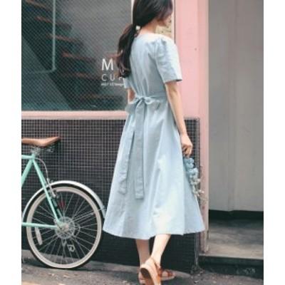 ワンピース ミモレ丈 半袖 シンプル リボン 上品 フレア レディース #1842