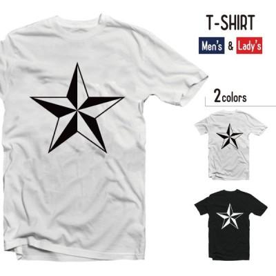 Tシャツ メンズ 半袖 レディース 半袖 おしゃれ ブラック ホワイト かわいい お洒落 星 スター STAR ビンテージ 星柄