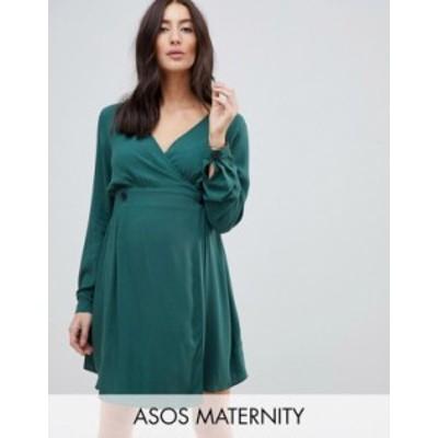 エイソス レディース ワンピース トップス ASOS DESIGN Maternity casual wrap mini dress with long sleeves in forest green Forest gr