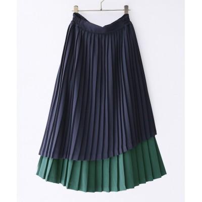【オシャレウォーカー】 『nOr配色ティアードプリーツスカート』 レディース ネイビー フリーサイズ osharewalker
