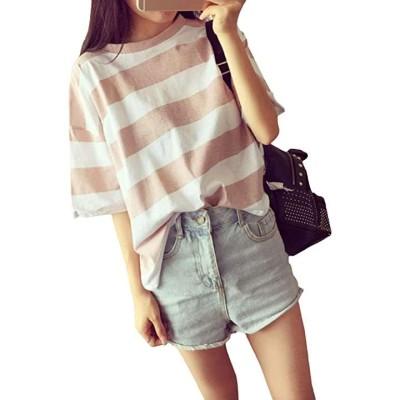 半袖 ゆったり ボーダー Tシャツ カットソー レディース PK(ピンク  L)