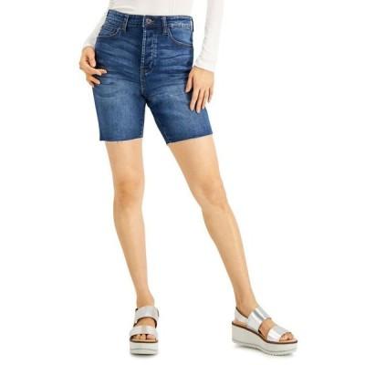 セレブリティピンク レディース ハーフパンツ・ショーツ ボトムス Juniors' Frayed Distressed Bermuda Shorts