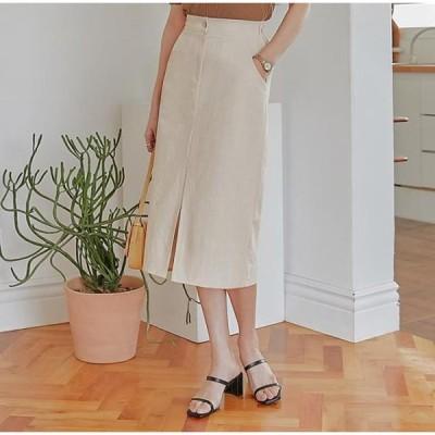 common unique レディース スカート Front Slit Accent Midi Skirt