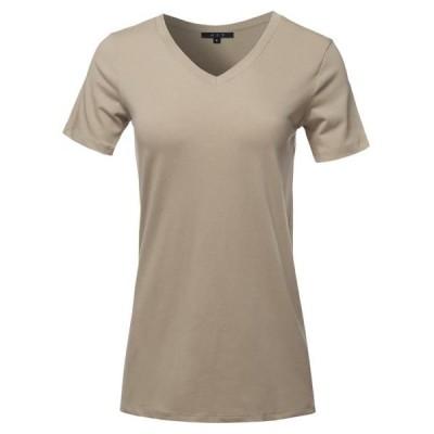 レディース 衣類 トップス A2Y Women's Basic Solid Premium Cotton Short Sleeve V-neck T Shirt Tee Tops Ash Mocha S ブラウス&シャツ