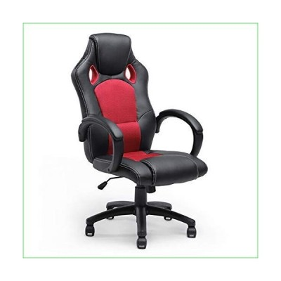 BELLEZE Executive Office Chair Racing Style PU Leather Swivel Computer Gaming High-Back, Black/Red並行輸入品