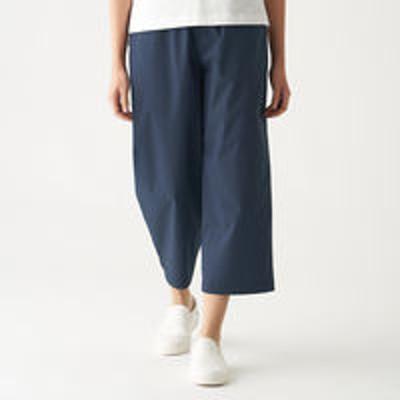 良品計画無印良品 ストレッチ高密度織りクロップドワイドパンツ 婦人 S ネイビー 良品計画