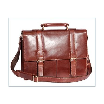 Mens Genuine Leather Briefcase Top Quality Executive Laptop Office Bag AV6 Tan並行輸入品