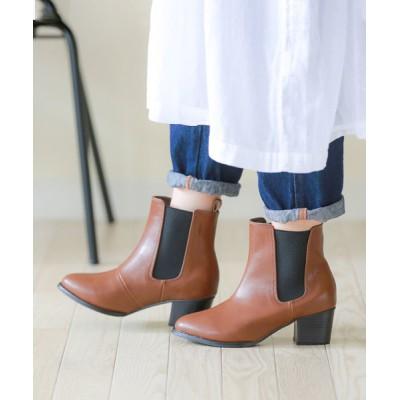 ブーツ サイドゴア ショートブーツ 5cmヒール