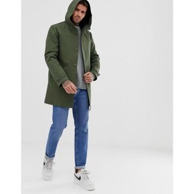 エイソス ASOS DESIGN メンズ トレンチコート アウター hooded trench coat with shower resistance in green Green