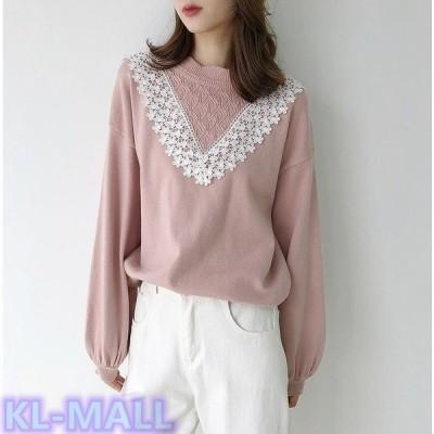 レディースニットセーター刺繍レースパフスリーブざっくりゆったりあったか長袖トップスホワイトピンクフリーサイズ