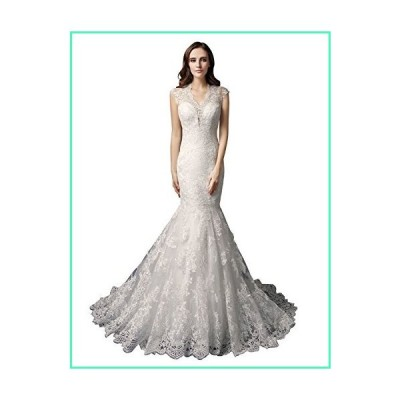 Sarahbirdal Women's Mermiad Lace Applique Wedding Dress V-Neck Bridal Gown Sleeveless White US8並行輸入品