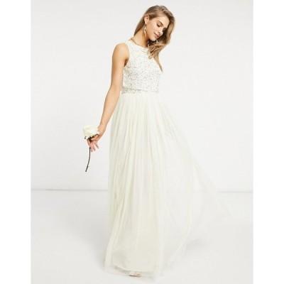 マヤ レディース ワンピース トップス Maya Bridesmaid 2 in 1 maxi tulle dress with tonal delicate sequin in ecru Ecru