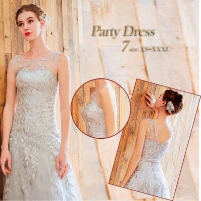 ドレス ロング ロングドレス カラードレス 二次会 花嫁 結婚式 パーティー ノースリーブ スパンコール グレー シルバー