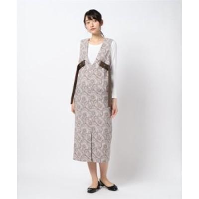 サラサ柄プリント レザーベルト ワンピース || レディースアパレル ドレス
