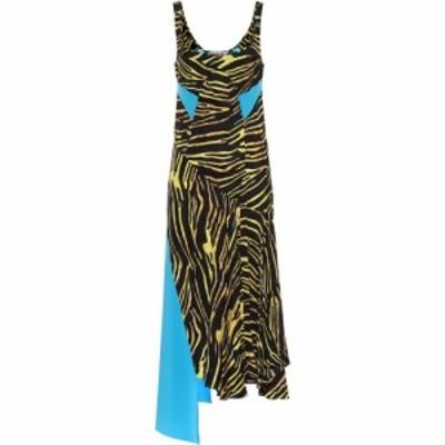 マリーン セル Marine Serre レディース ワンピース ミドル丈 ワンピース・ドレス Printed asymmetric midi dress Amphibian Zebra