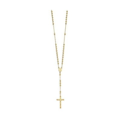 "Solid 14k Yellow Gold Big Heavy Diamond-Cut 4mm Beaded Rosary Necklace Chain 24"" - with Secure Lobster Lock Clasp"