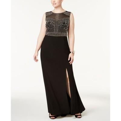 モルガン Morgan & Company レディース パーティードレス ワンピース・ドレス Trendy Plus Size Beaded Gown Black
