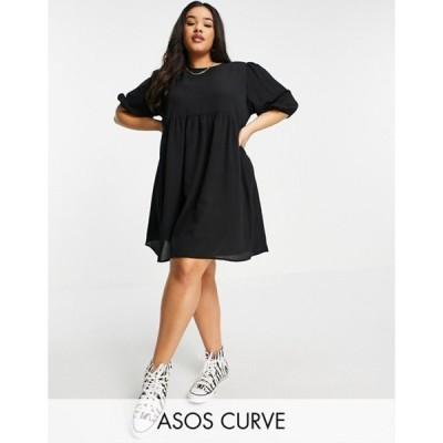 エイソス レディース ワンピース トップス ASOS DESIGN Curve short sleeve smock mini dress in black
