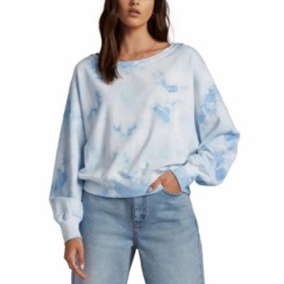 ビラボン レディース シャツ トップス Juniors' Lazy Way Tie-Dyed Sweatshirt Ice Blue